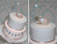 gray and blue baby shower cakes | Baby Elephant Cake in Blue - by CakeAvenue @ CakesDecor.com - cake ...