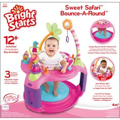 Adventure, entertainment, and learning is in store for your little girl with the Bright Starts Sweet Safari Bounce-A-Round. It features interactive toys, adjustable height positions, and seat rotation so she won't miss a thing. Baby Jumper, Pink Jumper, Safari, Baby Bouncer, Interactive Toys, Best Kids Toys, Pad, Activity Centers, Baby Safe