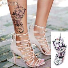 Rose Artificial Flowers Arm Shoulder Tattoo Stickers Flash Henna Tattoo Fake Waterproof Temporary