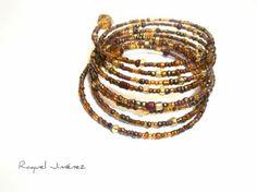 Brazalete con cuentas doradas - artesanum com