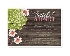 Rustic Succulent Bridal Shower Invitations  by ArtisticallyInvited