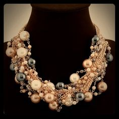 Lady Bib gold Plated crystal Statement Necklace Lady Bib Statement Pearl multi necklace NEW. Material:crystal/gold plated/glass N/A Jewelry Necklaces