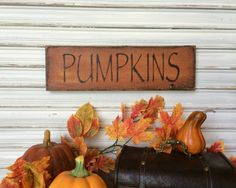 Fall Wood Sign Pumpkin Wood Sign  Autumn by TinSheepShop on Etsy