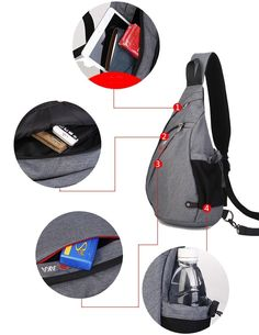 a5a49ce0f60a FreeMaster Sport Rucksack Shoulder Backpack Sling Chest Hiking Bag Cross  Body Bags for Camping Gym Cycling Biking School Bag Small Backpack (Black)