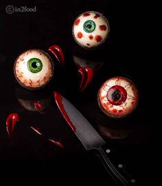 Eyeballs created with confectioners glaze, mirror glaze, chocolate tarts. #halloween