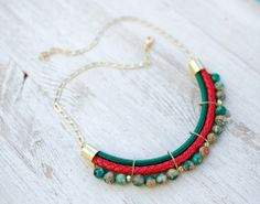 PrettyLover Statement Red Green colors Agate Necklace by by pardes, $88.00