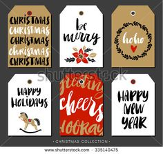 Christmas gift tag with calligraphy. Handwritten modern brush lettering: Merry Christmas, Happy Holidays, New Year, Cheers. Hand drawn design elements. - stock vector