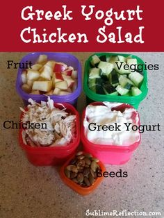 Chicken salad made with your choice of fruits, vegetables, and greek yogurt.  21 Day Fix Approved Recipe.