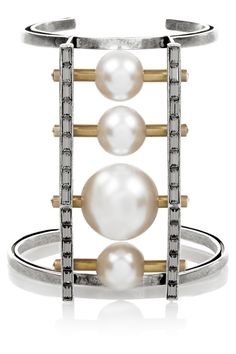 {Lanvin Faux pearl and Swarovski crystal silver and burnished gold-tone cuff}