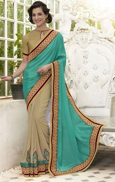 Mesmerizing Beige and Cyan Blue Latest Online Saree