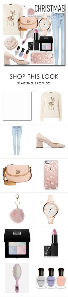 """""""Pastel Christmas"""" by emmy-124fashions ❤ liked on Polyvore featuring Dorothy Perkins, J Brand, Prada, Giani Bernini, Casetify, FOSSIL, Givenchy, NARS Cosmetics, The Wet Brush and Deborah Lippmann"""
