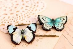 Blue butterfly hair clips, butterfly hair pin, woodland wedding, wooden hair clip, butterfly jewelry, bridesmaid hair clip by wonderful911