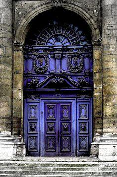Beautiful Baroque door, Paris ~ I need something in this color. so beautiful. Cool Doors, The Doors, Unique Doors, Windows And Doors, Door Knockers, Door Knobs, Purple Door, When One Door Closes, Grand Entrance