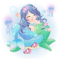 Hand Drawn Cute Mermaid Sitting In The Sea Turtle - - Discover thousands of Premium vectors available in AI and EPS formats. Watercolor Mermaid, Coral Watercolor, Watercolor Animals, Fish Illustration, Watercolor Illustration, Animal Illustrations, Fantasy Illustration, Digital Illustration, Illustrations Posters