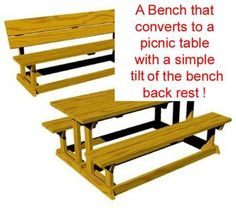 R14 1615   A Convertible Picnic Table Bench Vintage Woodworking Plan.