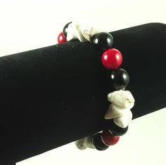 Unisex Handmade Black Agate Red Coral and Magnesite by BeadModern