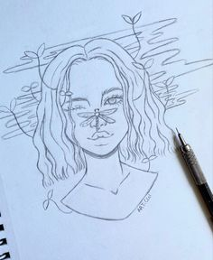 Girl Drawing Sketches, Art Drawings Sketches Simple, Pencil Art Drawings, Easy Drawings, Tumblr Sketches, Cool Sketches, Art Inspiration Drawing, Cartoon Art Styles, Hippie Art