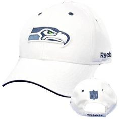 NFL Seattle Seahawks Team White Blue Licensed Reebok Velcro Constructed Hat Cap by NFL. $18.99. Official Licensed Product. Brand New Item with Tags. 100% Polyester. Velcro. Adjustable. Show off your team spirit in this durable hat. Team logo embroidered on front panel. NFL logo embroidered label on back panel. Adjustable velcro closure. One size fits most. Authentic Team Apparel merchandise. Officially Licensed NFL Product.