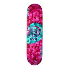 Funky Hot Pink Teal Blue Mosaic Swirls Girly Gifts Skate Deck | Skateboards for Girls