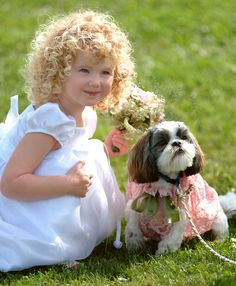 Which is cuter, the little girl or the shih tzu?