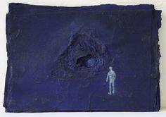 Luca Grechi, Fondo blu, 2012, tecnica mista su carta, 19 x 27 cm