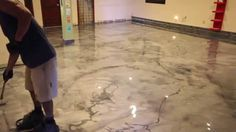 Metallic Epoxy floor. Marble design with fine veining.