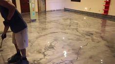 Metallic Epoxy floor. Marble design with fine veining.