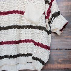 chunky oversized stripe knit boyfriend sweater in beige