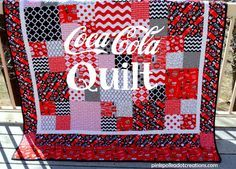 COKE Quilt, a simple 4 patch square with a 9 1/2 inch square pattern.  So easy to put together and this fun quilt declares my love for Coca Cola!   Pink Polka Dot Creations