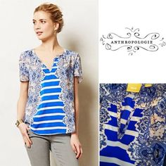 """NWOT Anthropologie 100% silk Maeve top Stunning top from Maeve made for Anthropologie. 100% silk, beautiful blue and cream paisley with touches of a light ballet pink and contrasting bold blue and cream stripes down the center. Flattering v neck line, this top is both cool and feminine. Never worn! Length is approx 24"""" and 18"""" across laying flat. Meant to be loose and airy. Size XS, could definitely also fit a Small. Anthropologie Tops"""