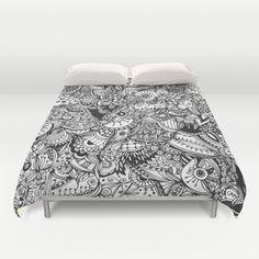 Black and white zentangle inspired art, Detailed rectangle, b&w doodle Duvet Cover