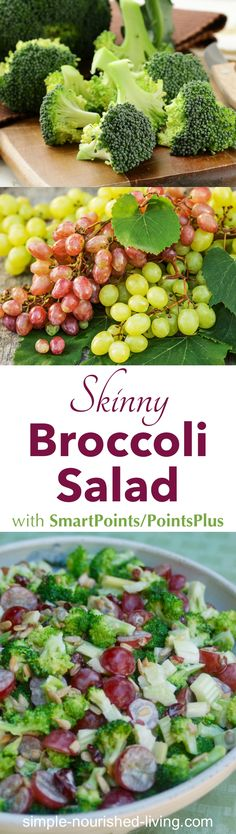 This light and crunchy broccoli salad with creamy dressing, grapes, celery, and raisins is my new favorite way to enjoy broccoli. Only 149 calories, 4 Weight Watchers PointsPlus, 4 SmartPoints per serving!