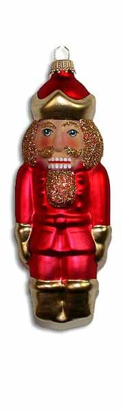 Blown glass nutcracker Christmas ornament from Lauscha, Germany