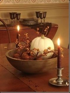 Beautiful fall centerpiece- awesome for thanksgiving Autumn Decorating, Decorating Ideas, Primitive Fall Decorating, Primitive Decor, Rustic Decor, Decor Ideas, Simple Centerpieces, Candle Centerpieces, Wedding Centerpieces