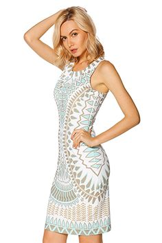 Bohemian Dress features a bodycon design with a round neck and sleeveless  cut.  dresses a51fb4fc0