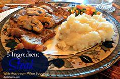 5-ingredient 15 minute steak with mushroom wine sauce! #recipes #dinner