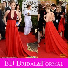 Two Tone Amy Adams Dress Halter Plunging V Neck Low Cut Chiffon Open Back Prom Dress 2014 Golden Globe  Awards Red Carpet Dress