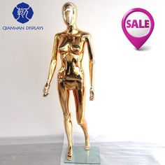 Source Fashion Rose Gold Colour Female Glossy Chrome Mannequin with Hair QianWan Displays on m.alibaba.com