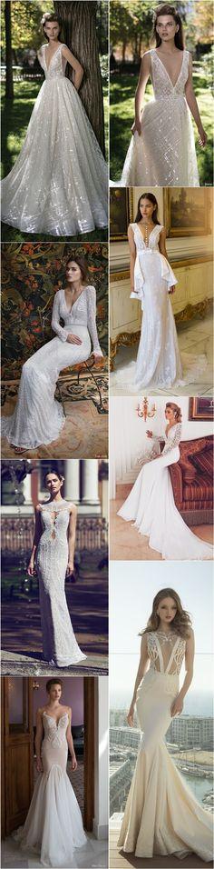 Sexy Wedding Dresses with Deep V Neck / http://www.deerpearlflowers.com/deep-plunging-v-neck-wedding-dresses/