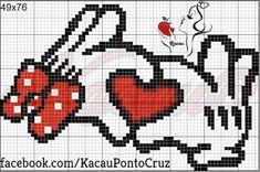 Minnie and Mickey Mouse Cross Stitching, Cross Stitch Embroidery, Embroidery Patterns, Cross Stitch Patterns, Crochet Disney, Stitch Cartoon, Bobble Stitch, Cross Stitch Heart, Perler Patterns