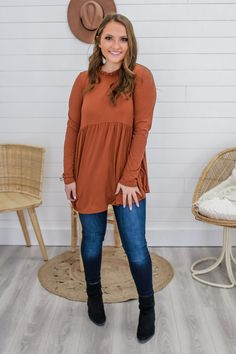 Pumpkin Baby Doll Long Sleeve Top - UOIOnline.com