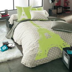 couette verte sur pinterest grand lit couettes d. Black Bedroom Furniture Sets. Home Design Ideas