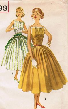 1950s Simplicity 2033 Vintage Sewing Pattern by midvalecottage.  My mom used a lot of Simplicity patterns to sew us clothers.