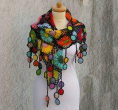 Chale crocheté noir multicolore coton