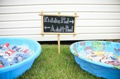 adult pool/kiddie pool with drinks. Lol hoping no kid ends up in the adult pool lol Pool Party Crafts, Craft Party, Pool Party Games, Kiddie Pool, My Pool, Pool Fun, Bbq Party, Beach Party, Party Drinks