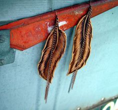 Hand Burned Leather Feather and Copper Chain Shoulder Duster Earrings