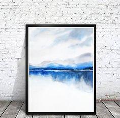 Landscape Painting, Watercolor Painting Print, Nature Print,Modern Landscape Print,Mountain Art,Blue Wall Decor,Lake, Grey Masculine Art,Zen by NancyKnightArt on Etsy https://www.etsy.com/listing/218776059/landscape-painting-watercolor-painting