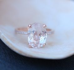 Blake Lively ring Peach Sapphire Engagement Ring oval cut 14k rose gold diamond ring 3.5ct Peach champagne sapphire