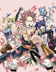 Fairy Tail - Lucy, Natsu, Wendy, Happy, Carla