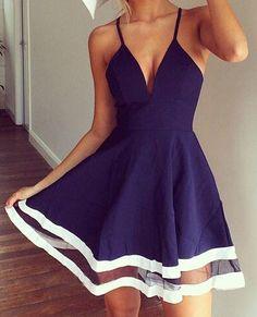 Sexy Spaghetti Strap Sleeveless Low Cut Spliced Women's Dress #Blue #Fashion #Sexy #Stylish #Women #Lady